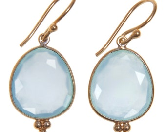 Handmade Gold-plated Sterling Silver Aqua Chalcedony Oval Earrings
