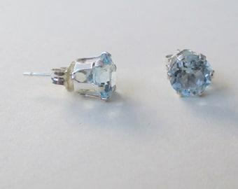 Blue Topaz gemstone stud ear-rings