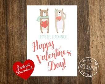 Valentine Instant Download Printable Card, I love you beary much Valentine, 5x7 Printable Card,  Valentines Day Cards, Listing #V8