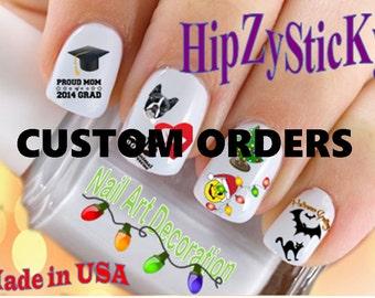 """Custom Order - 24pc Nail Art Waterslide Decals """"SPECIAL ORDERS"""""""