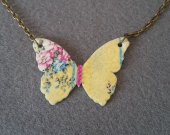 Butterfly Necklace yellow vintage chintz print