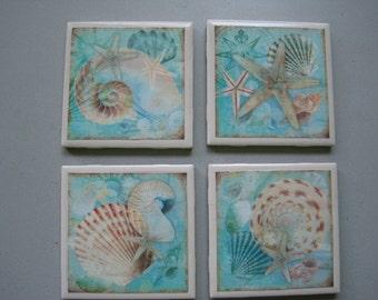 Seashells Ceramic Tile Coasters - Set of 4