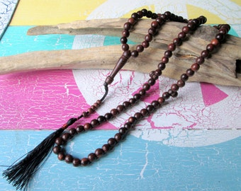 Mala necklace with dark brown wooden beads and tassel * Yoga * hippie *.