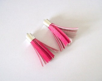 tassels pink faux leather trimmings pair of tassles