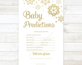 Baby Prediction Card, Winter Baby Shower, Gold Glitter Snowflakes Gender Neutral Baby Prediction Card - INSTANT DOWNLOAD