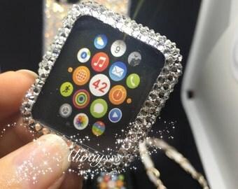Apple Watch case bling handmade clear crystal rhinestones swarovski elements light pink fashion black jet handmade september trends school