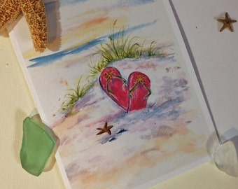 Flip Flops note cards, set of 8 blank cards and envelopes, handmade by me, from my original artwork, greeting cards, all occasion cards