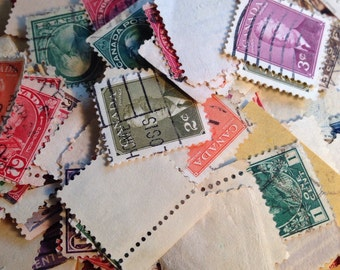 Assorted cancelled postage stamps