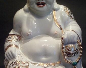 """Large 8"""" Vintage Porcelain Chinese Happy Laughing Buddha Gilt"""