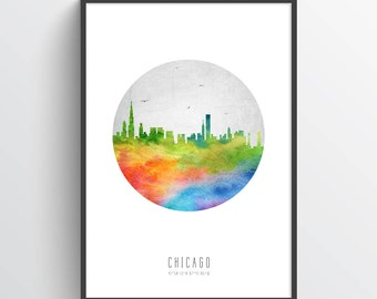 Chicago Illinois Skyline Poster, Chicago Cityscape, Chicago Art, Chicago Decor,  Home Decor, Gift Idea, USILCH20P