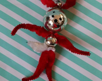 Vintage kitsch retro pipe cleaner man Christmas tree decoration 1950s