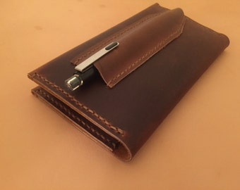 Leather Notebook Cover With Pen Slot