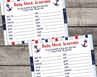 Nautical Boy Baby Shower Word Scramble Game Baby Shower Game - Ahoy its a Boy Baby Shower Games - 217