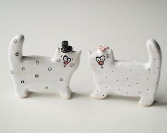 Wedding Cake Topper, Cat Cake Topper, Wedding Cake Decor, Cat Couple, Handpainted Cake Topper, Ceramics and Pottery