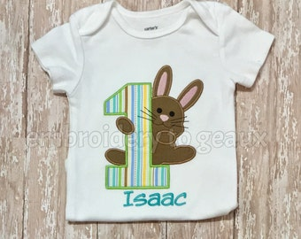Easter Birthday Shirt, First Birthday Bunny T-Shirt, Spring Birthday T-Shirt, Easter Bunny Birthday Shirt, Easter Birthday Outfit