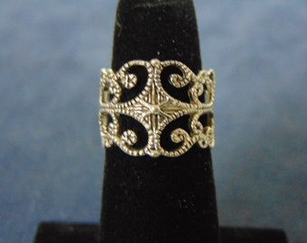 Womens Victorian Style >925 Sterling Silver Filigree Ring 3.8g #E2154