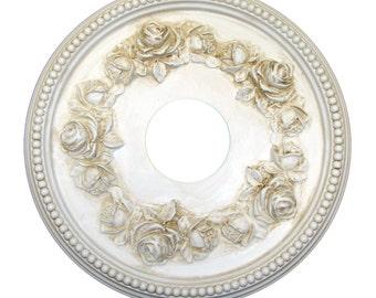 "Shabby Rose 16"" Diameter Ceiling Medallion for Chandeliers or Fans. Custom Color, Rhinestones, wall medallion"