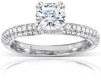 Forever One Cushion Moissanite and Diamond Engagement Ring 1 1/3 CTW in 14k White Gold