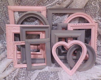 Picture Frame Set, Pink and Gray, FREE SHIPPING, Grey, Gallery Wall, Home Decor, Collage, Girl, Nursery, Wedding