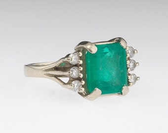 Emerald Diamond 14K White Gold Openwork Mid-Century Vintage Retro Ring