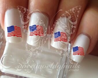 Patriotic Waving American Flag  Nail Art Water Decals Transfers Wraps