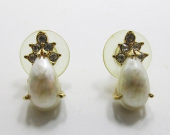 Feminine Vintage 1970s Signed Roman Faux Pearl Cabochon and Clear Rhinestone Earrings