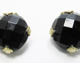 Vintage 1950s Signed Vogue Classic Gold Toned Earrings with a Black Faceted Stone