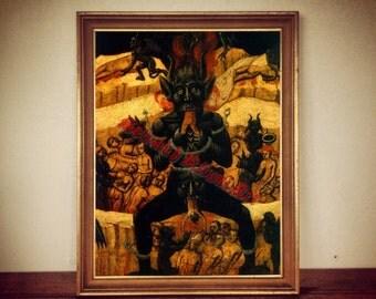 Satan devouring people print, devil poster, medieval decoration, occult art, hell picture, demons illustration #306