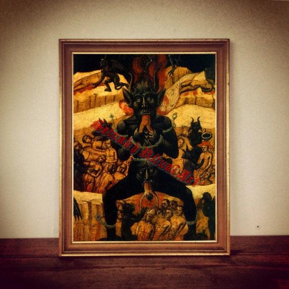 Satan Devouring People Print Devil Poster Medieval