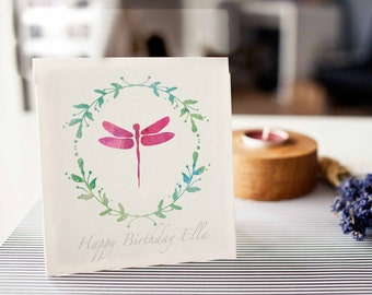 Dragonfly Birthday Card, happy birthday card, watercolour effect, dragonfly, for her, customised card
