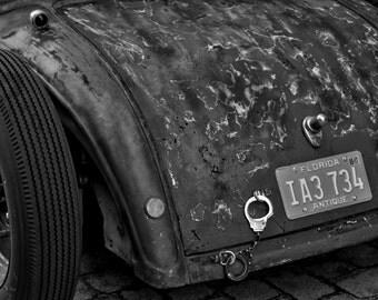 Handcuffs Antique Car in South Beach Miami Black and White Photograph 8x10