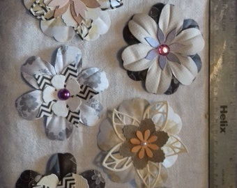 Handmade die cut flowers set of 7