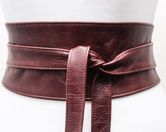 SALE! OX Blood Brown Leather Obi Belt | Corset Belt | Brown Obi Belt | Real Leather Belt| Sizes 0 to 30 | Waist Wrap Belt
