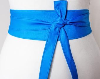 Bright Blue Soft Leather Obi Belt   Waist Obi Belt   Leather tie belt   Real Leather Belt   Plus size belts  Obi Sash Belt
