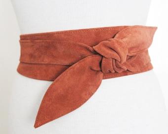 Tan Suede Tulip Tie Obi Belt | Suede Belt | Waist tie belt | Plus Size Belts | Petite Size Belts