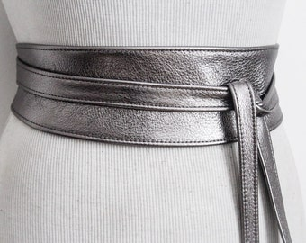 Pewter Silver Leather Obi Belt | Waist or Hip Belt | Leather tie belt | Real Leather wrap Belt | Bridesmaid belt