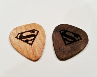 Superman Guitar Pick, Personalized Custom Engraved Superman Guitar Pick, Wood Laser Burned Comic Guitar Pick, Hand Made Wood Guitar Pick