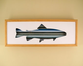 """Fish - 24"""" by 8"""" Recycled Wood Silhouette Wall Art"""
