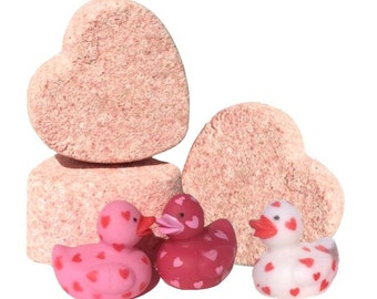 LUCKY DUCKY Bath Bomb-Valentine's Day Gift-Bath Bomb-Bath Fizzies-Kaolin Clay-Bath Spa Gift-Heart Bath Bomb-Clay Bath-Detox Bath- 3 oz.