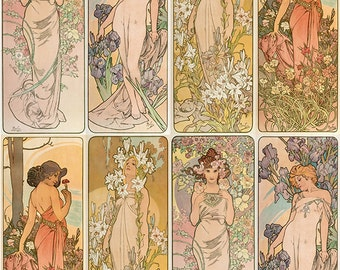 Vintage Art Nouveau - Goddesses - Scrapbooking - Clip Art - Digital Download