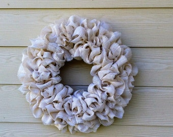 Ivory Burlap Wreath/ Shabby Chic Wreath/ Cottage Wreath/Wedding Wreath/Beach/Everyday Wreath