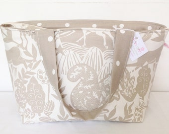 Taupe Wildlife Zippered Tote Bag, Taupe Tote Bag, Medium Zippered Bag
