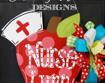 School Nurse Apple Door Hanger, Back to School Decor, Wooden Apple Decoration, Fall Apple Wreath