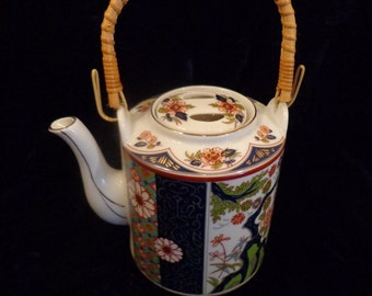 Asian Oriental Tea Pot with Wicker Handle, Hand Painted Pink Oriental Flowers On Navy Blue  White Background, Gold Gilding, Chinese Tea Pot