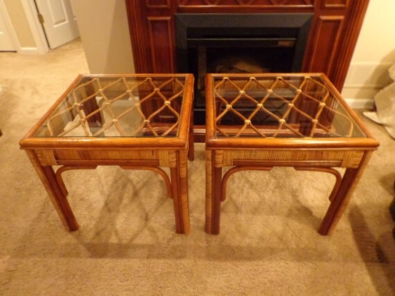 Items Similar To Vintage Indonesian Bamboo Rattan End Tables, Glass Top, Pt  Fendi Mungil Indonesia, Natural Bamboo, Bohemian Chic, Beach Resort Style  Pair ...