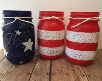 Patriotic Mason Jars, July 4th Gift, Mason Jar set, Painted Mason Jars, Summer Decor, Fourth of July Mason Jar, July 4th Mason Jar