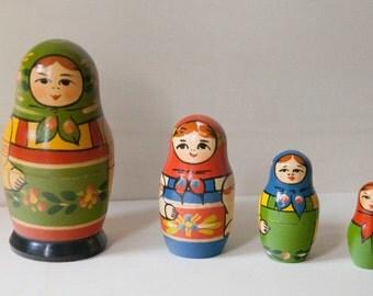 Sale 25% Off-discounts-Matrioska vintage 4 original pieces years 80. Russian Matryoshka doll collectibles.