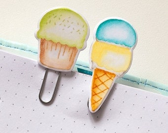 """Set D """"Sweets"""" of two Laminated Clips, Paper Clips, Bookmark"""