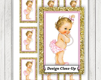 Pink Gold Baby Shower Gift Tags, Pink Gold Glitter Baby Shower Tags, Instant Download Baby Shower Tags, Blonde Girl Baby Shower Tags,Pearl