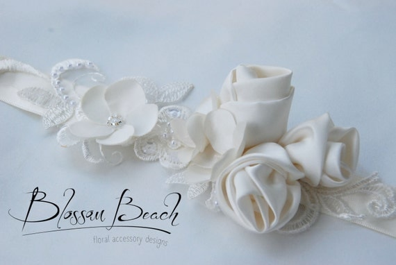 Ivory satin rose bridal belt;ivory lace and floral bridal sash;ivory wedding dress sash